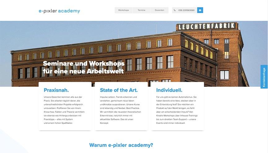 Bildmotiv zur e-pixler academy. Hier finden Workshops zu Innovation und digitaler Transformation statt