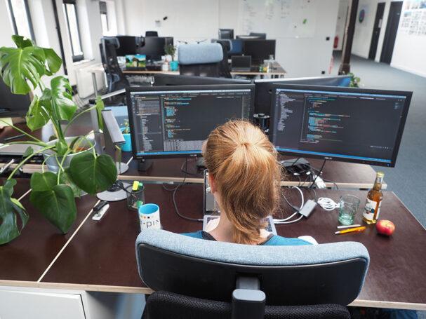 e-pixler Entwicklerin beim programmieren