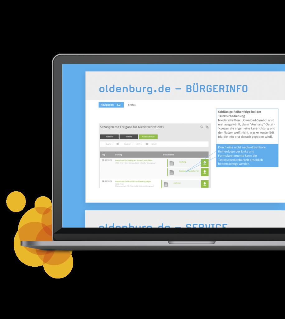 Referenz für Tests auf barrierefreie Website