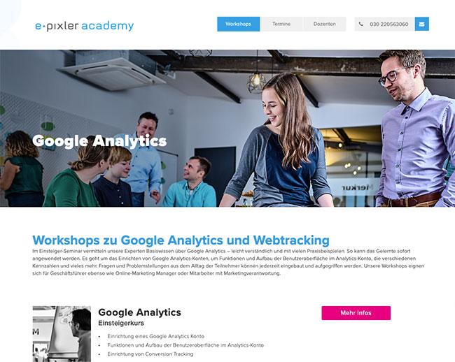 Foto: Workshops zu Google Analytics und Webtracking in der e-pixler academy