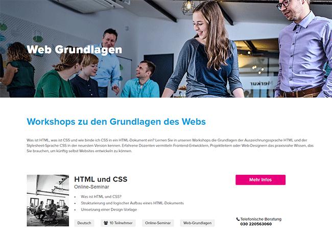 e-pixler academy Schulungen für Web-Grundlagen