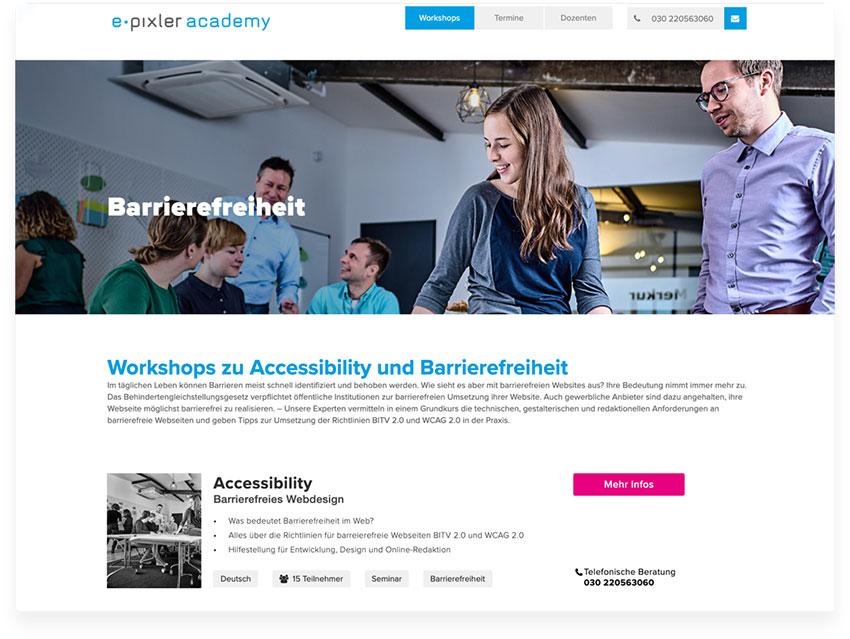 e-pixler Academy Schulungen Accessibility